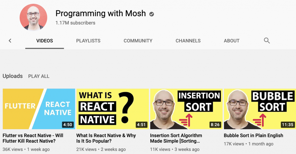 Programming with Mosh Youtube channel